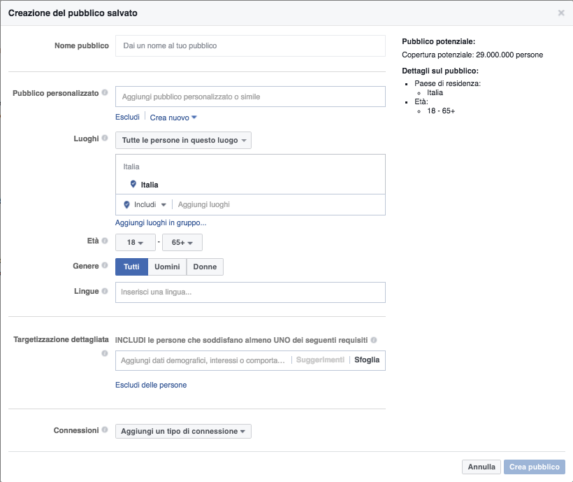 Custom Audience nel Facebook Business Manager