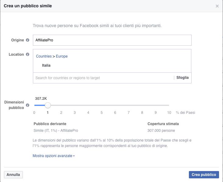 Creare un pubblico simile su Facebook
