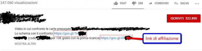 esempio per guadagnare su YouTube grazie a link di affiliazione