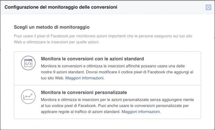 usare il pixel per il monitoraggio delle conversioni