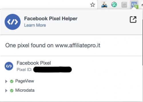 Il plugin Facebook Pixel Helper aiuta a capire la corretta installazione del pixel