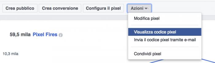installazione del codice del pixel di Facebook