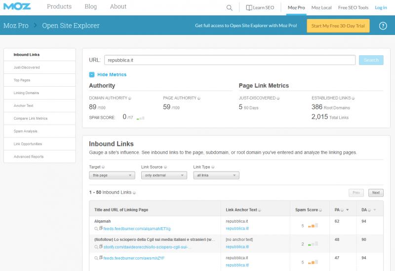 moz open site explorer come tool SEO gratuito da usare