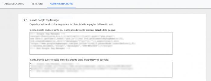installazione del Google Tag Manager