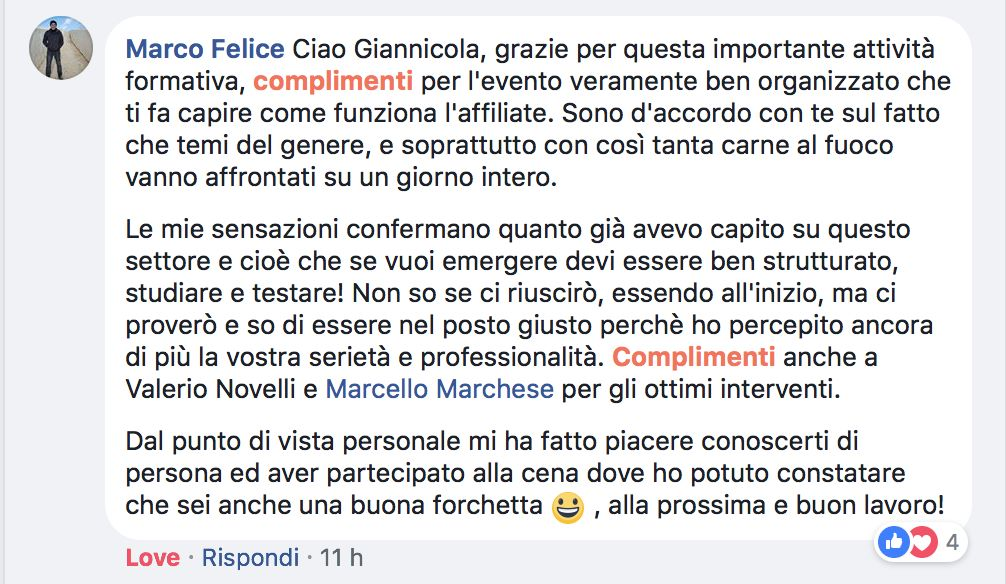 Testimonianza Marco Felice AffiliateDay