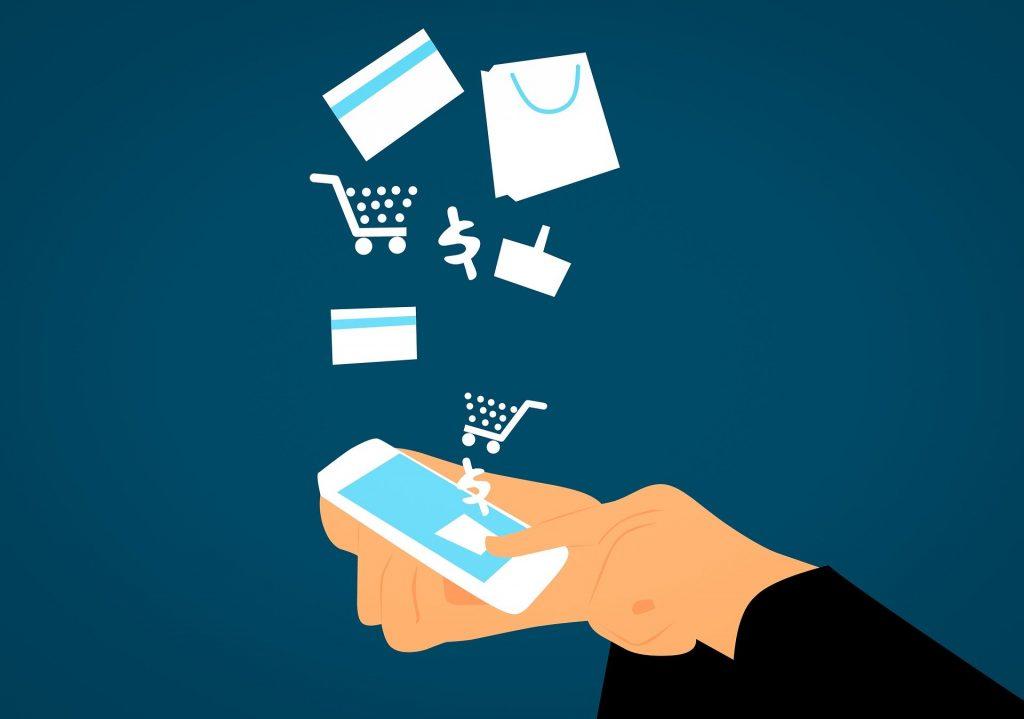 L'immagine mostra le icone relative al commercio online