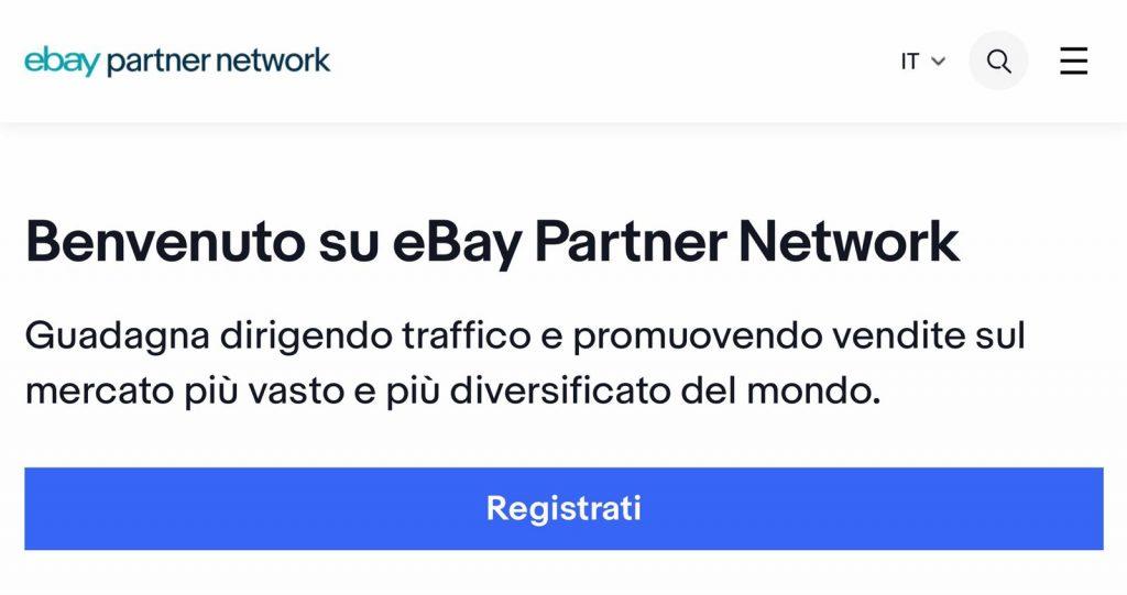 eBay partner network il programma_pagina di benvenuto