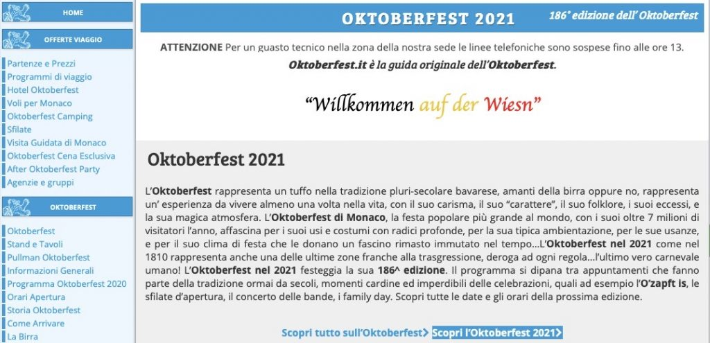 Il sito web oktoberfest.it